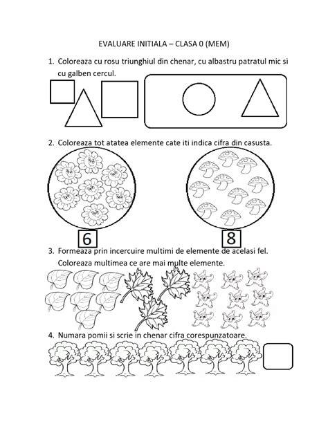 www fise it dati fise de evaluare initiala pentru clasa 0 pregatitoare mem