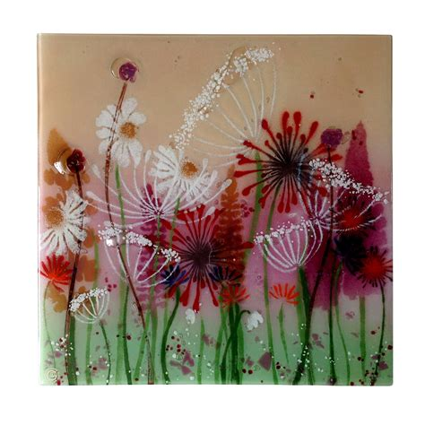 large summer meadow fused glass wall panel