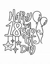 18th Birthday Coloring Happy Balloons Stars Pages Printable sketch template