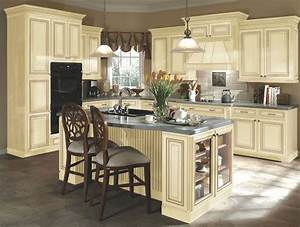 Kitchen idea 3 distressed cream cabinets this has tile for Kitchen colors with white cabinets with john lennon wall art