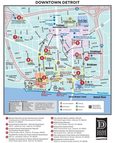 detroit tourist attractions map