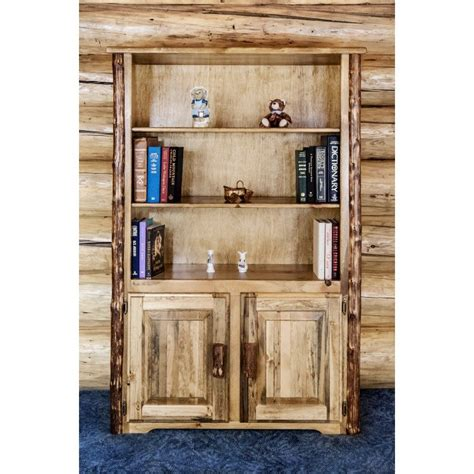 Log Bookcase glacier country log bookcase with storage