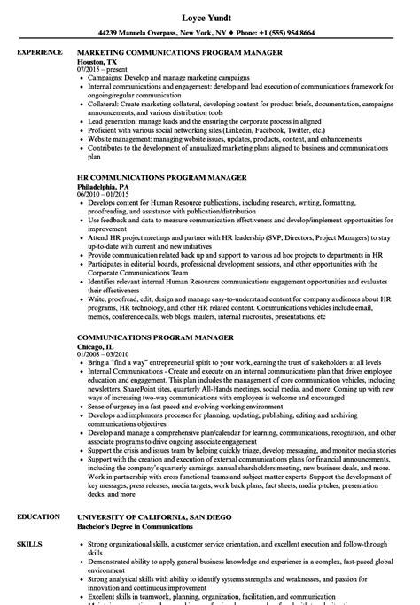 Program Manager Resume Sle by Communications Program Manager Resume Sles Velvet