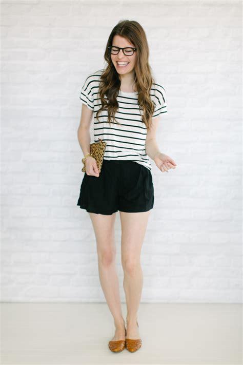 Flowy shorts + flats + stripes