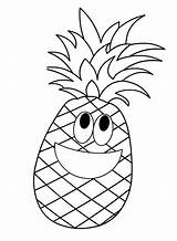 Pineapple Coloring Pages Cartoon Fruit Fruits Printable Preschool Apple Crafts Worksheets Template Kindergarten Ananas Patterns Da Colorare Templates Colouring Sheets sketch template