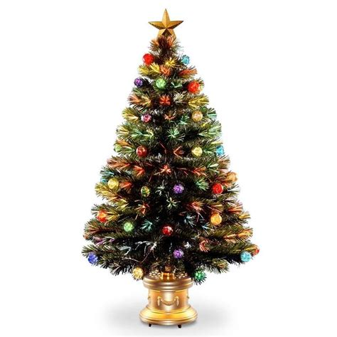 fiber optic artificial christmas trees lowes national tree company 48 in pre lit fiber optic fireworks artificial tree with