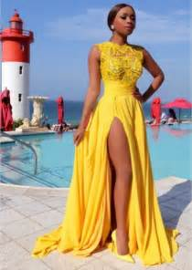 2018 Yellow Chiffon Prom Dresses Thigh-High Slit Sexy Summer Evening Gowns_Prom Dresses_2019 ...