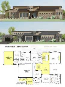 home plans with courtyards contemporary side courtyard house plan 61custom