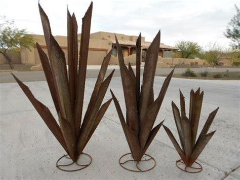 Metal Agave Cactus Small Yard Art Decor Landscape Rusty