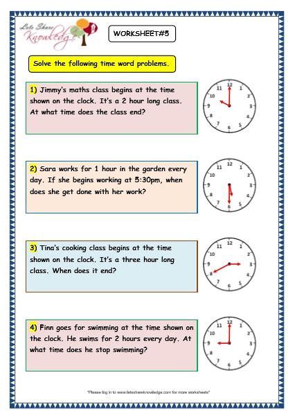 grade  maths worksheets  time problems lets share