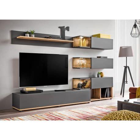 ensemble meuble tv mural anthracite  bois cbc meubles