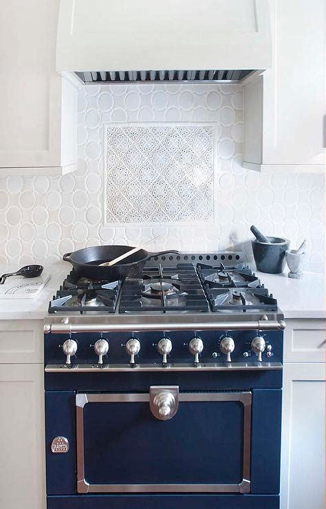 blue french stove  oval backsplash tiles