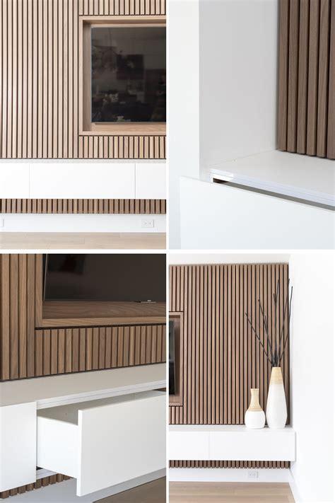 design detail  wood slat accent wall surrounds  tv