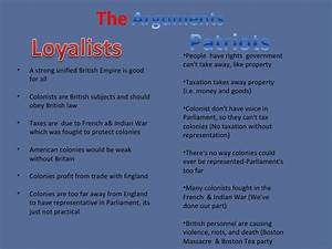 Loyalist Vs  Patriots