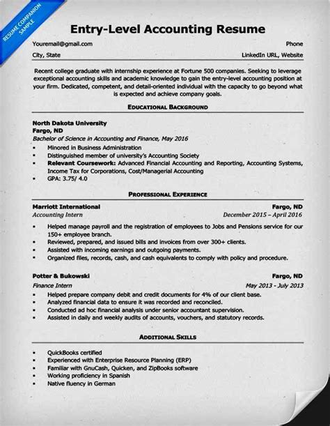 Accounting Skills Resume by Entry Level Accounting Resume Qualification Resume