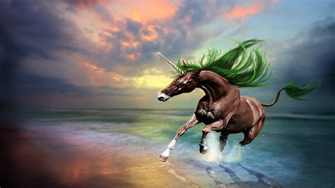brown horse unicorn art digital imaging beach sunset
