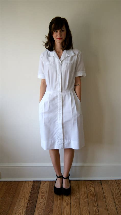vintage nurses uniform   white dress military