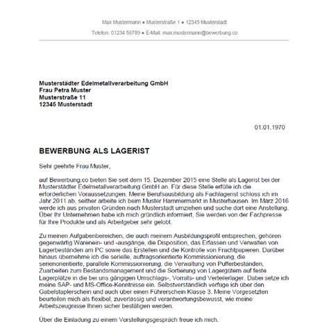 Bewerbung als Lagerist / Lageristin - Bewerbung.co