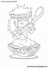 Salad Fruit Coloring Pages Drawing Healthy Print Eating Getdrawings sketch template