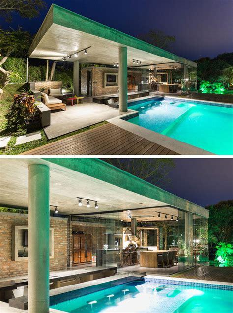 tropical pool house   swim  bar   glass