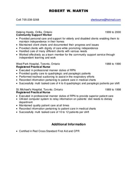 Personal Support Worker Resume Skills by New Psw Resume July 2015
