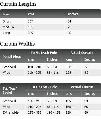 curtain sizes chart curtains and blinds