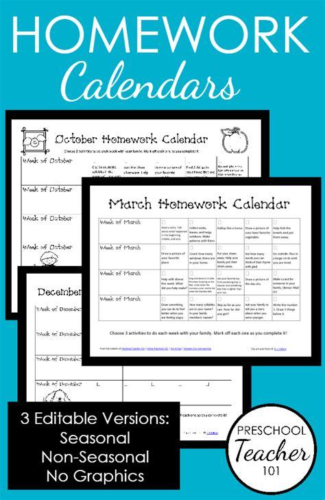 printable preschool homework calendars preschool teacher