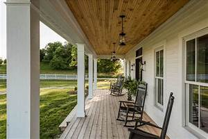 Rustic Modern Farmhouse Covered Porch With Swinging Chairs