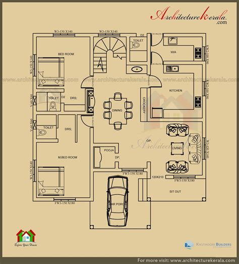 house plans small lot 2500 sq ft 3 bedroom house plan with pooja room