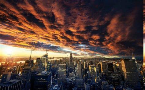 nature landscape clouds sunset  york city