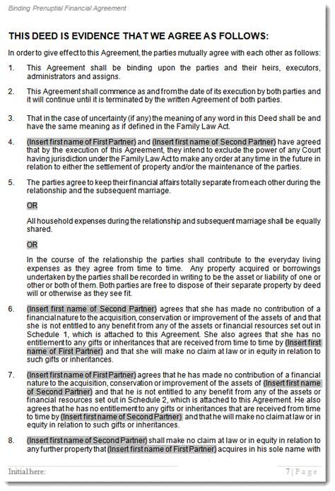 prenuptial agreement template prenup pre marital financial