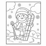 Coloring Winter Sports Outline Cartoon Skis sketch template