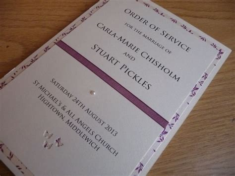 ivory  plum themed order  service booklets