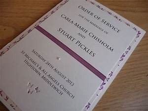 Ivory And Plum Themed Order Of Service Booklets For A