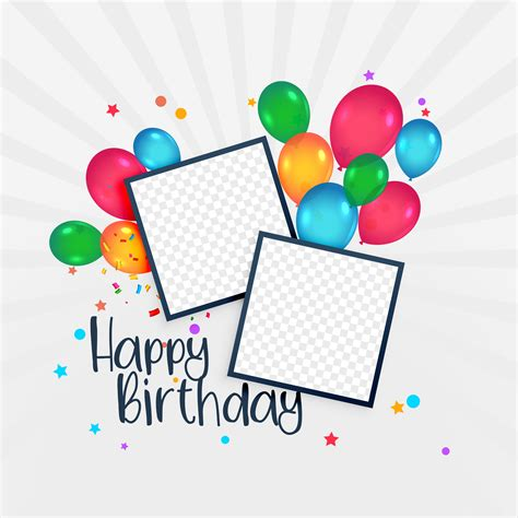 happy birthday card with photo frame and balloons download free vector art stock graphics