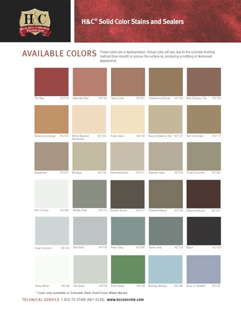 color h h c concrete stain colors stains concrete stain