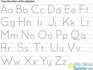 Printable traceable alphabet chart for upper and lower for Alphabet letters to trace and write