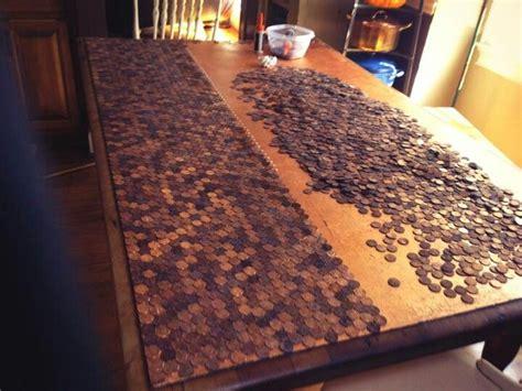 comedian anita renfroe gluing pennies  resurface table