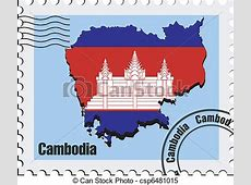 Clipart Vector of vector stamp of Cambodia vector stamp