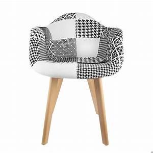 Fauteuil Scandinave Blanc : fauteuil scandinave patchwork noir blanc ~ Teatrodelosmanantiales.com Idées de Décoration