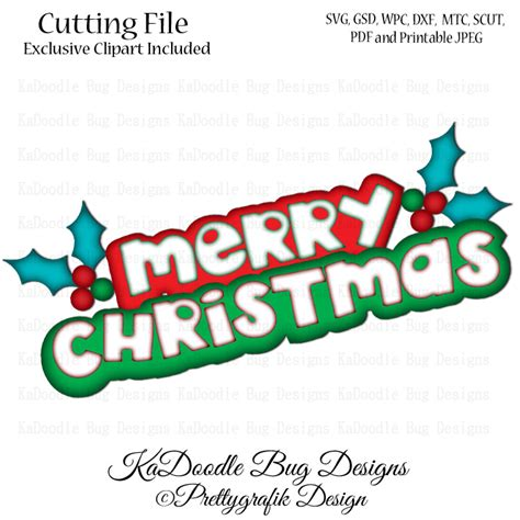 merry christmas titles kadoodle bug designs cut files digi sts clip