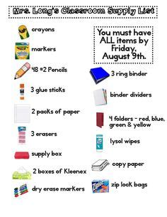 school supply list for preschool welcome back note to parents with supply list 744