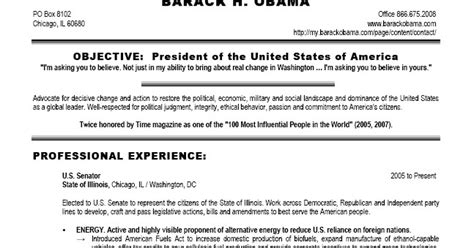 Obama Resume by Chini Live Keeping Up With The Buzz President