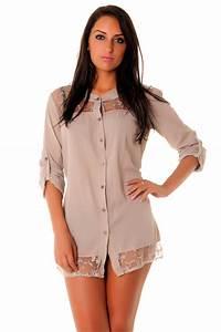 Orlinski Pas Cher : chemise pour femme large en beige avec dentelle chemise femme pas cher ~ Teatrodelosmanantiales.com Idées de Décoration