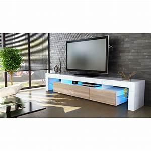 Meuble Tv Blanc Laqué Et Bois : meuble tv 199x35x38 laqu blanc bois brut option l achat vente meuble tv meuble tv 199x35x38 ~ Teatrodelosmanantiales.com Idées de Décoration