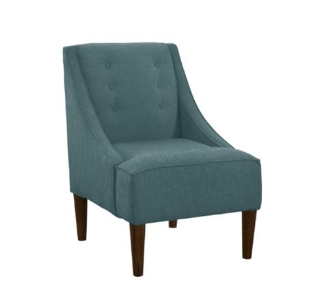 skyline furniture swoop arm chair with buttons in linen
