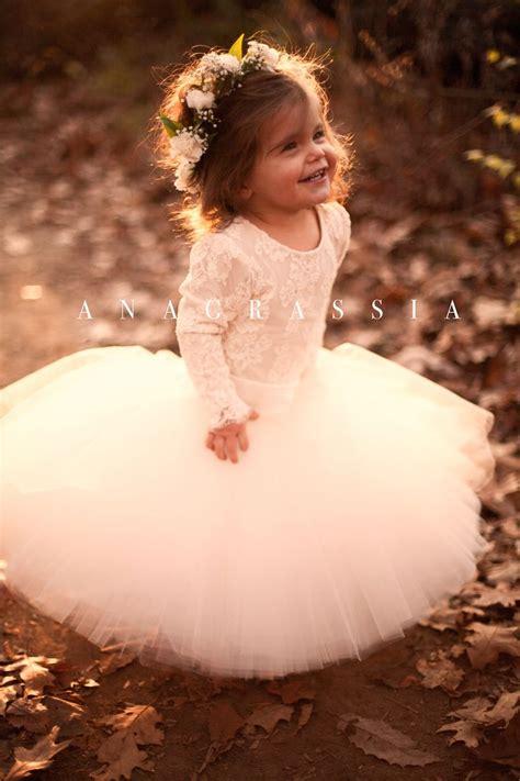 anagrassia fall wedding flower girl dresses blush ivory
