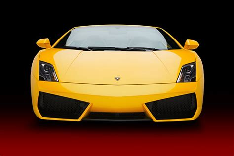 yellow lamborghini front spyder car stock photos kimballstock