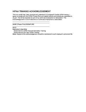 fillable  hipaa training acknowledgement form staff