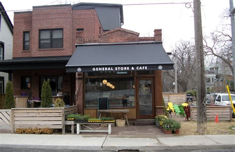 lucky penny general store cafe rolltec retractable awnings toronto ontario canada
